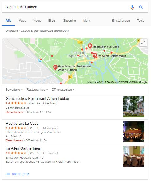 Google My Business Einträge -
